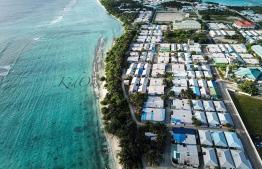 An aerial photograph of Dhuvaafaru, Raa Atoll. PHOTO: KIDDO.MV