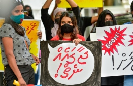 This protest against impunity for offenders and lack of justice for survivors of abuse, violence and harassment, titled 'Anhenunah #JaagaEhNei' or 'No Space For Women', was held by a collective of gender advocates in July 2020. PHOTO: AHMED AWSHAN ILYAS / MIHAARU