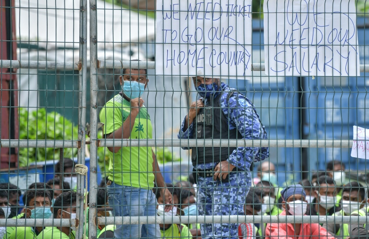 In the aftermath of the protest staged by Island Expert's expatriate workers on July 13, 2020, over several months of unpaid salaries. PHOTO: NISHAN ALI / MIHAARU