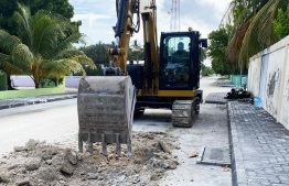 Ongoing construction and development of roads in L.Fonadhoo. PHOTO/MTCC