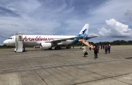 Bangladeshi citizens boarding a Maldivian flight for repatriation. PHOTO: MALDIVIAN
