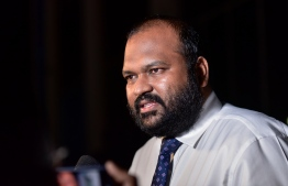 Former Tourism Minister Alii Waheed addresses a press conference. He has been accused of sexual harassment, sexual abuse, attempted rape, inappropriate conduct and indecent exposure. PHOTO: AHMED AWSHAN ILYAS / MIHAARU