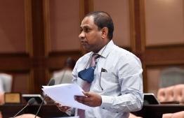 GA.Villingili MP Saud Hussain speaks at a parliamentary sitting. PHOTO/MAJILIS