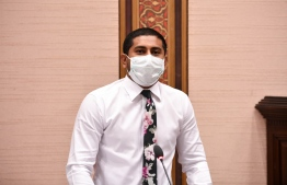 Youth Minister Ahmed Mahloof at Majilis: he has been suspended since June 9 for his involvement un the MMPRC Corruption -- Photo: Majilis