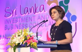 IFC Country Manager for Maldives and Sri Lanka Amena Arif, speaking at an Investment and Business Conclave at Sri Lanka. PHOTO: AMENA ARIF