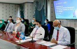 A photograph taken during the handover ceremony for UNICEF's donation to Maldives. PHOTO: MINISTRY OF HEALTH