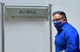 Former Vice President Ahmed Adeeb, arriving for a hearing at the High Court. PHOTO: AHMED AWSHAN/ MIHAARU