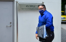 Former Vice President Ahmed Adeeb, arriving for a hearing at the High Court. The ex-VP confessed to his involvement in the MMPRC scandal at a hearing at the Criminal Court and accepted all seven charges pressed against him by the state. PHOTO: AHMED AWSHAN/ MIHAARU