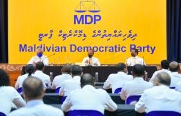 An MDP congress session held in 2020: Nasheed participated in the congress session held virtually -- Photo: Ahmed Awshan Ilyas/ Mihaaru