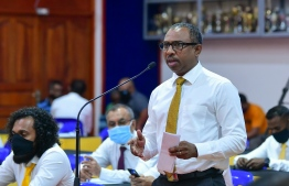 MDP parliamentary group leader and Henveiru Central MP Ali Azim speaks at an MDP National Council meeting.