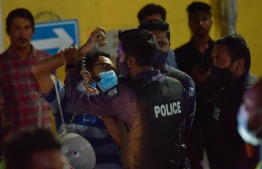 Police officers work to control an opposition protest held in 2020, calling for the release of arrested former president, Abdulla Yameen. FILE PHOTO/MIHAARU