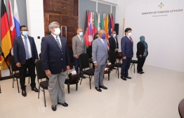 Foreign Minister Abdulla Shahid and other ministry officials: the foreign minister participated in a virtual reception hosted by the Maldives' Permanent Mission to the UN on the occasion of the country's 55th Independence Day. PHOTO/FOREIGN MINISTRY
