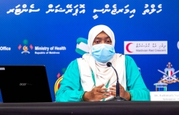 Health Emergency Operation Centre (HEOC)'s Spokesperson and Health Protection Agency (HPA)'s Medical Officer Dr Nazla Rafeeq speaking at one of HEOC's press conferences. PHOTO: HEOC