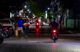 A street of Male' City during the curfew implemented from 2200hrs to 0500hrs in an attempt to reduce the COVID-19 spread in Maldives. PHOTO: MIHAARU