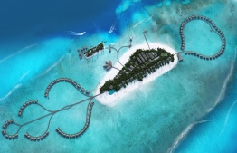 An aerial view of the Radisson Blu Resort Maldives, featuring water villas on it's north and south end. PHOTO: RADISSON BLU RESORT MALDIVES