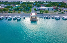 An aerial image of Thinadhoo, in Gaafu Dhaalu Atoll. Four individuals were arrested over a kidnapping that occured on November 18th. PHOTO: MIHAARU FILES