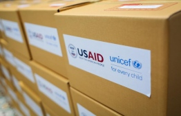 Aid packages prepared by the United States Agency for International Development (USAID) in collaboration with UNICEF. They extended a grant of USD 750,000 for Maldives' ongoing COVID-19 response. PHOTO: UNICEF