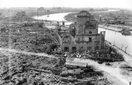 "(FILES) This handout file picture taken on November 1945 by the US Army and released by the Hiroshima Peace Memorial Museum shows the A-bomb Dome, three months after the atomic bomb was dropped by B-29 bomber Enola Gay over the city of Hiroshima. - Japan on August 6, 2020 will mark 75 years since the world's first atomic bomb attack, with the COVID-19 coronavirus pandemic forcing a scaling back of annual ceremonies to commemorate the victims. (Photo by Handout / various sources / AFP) / ---EDITORS NOTE---RESTRICTED TO EDITORIAL USE - MANDATORY CREDIT ""AFP PHOTO / US Army / HIROSHIMA PEACE MEMORIAL MUSEUM"" - NO MARKETING NO ADVERTISING CAMPAIGNS - DISTRIBUTED AS A SERVICE TO CLIENTS"
