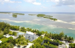 An aerial photograph of an area in Hithadhoo.