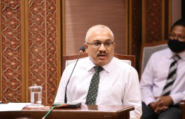 Former vice president and finance minister, Abdulla Jihad, speaks at a parliament sitting. Jihad has been charged with corruption in connection with the development of K.Fushidhiggaru as a special tourist zone. FILE PHOTO/MAJLIS