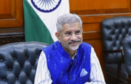 Indian Minister of External Affairs Dr Subrahmanyam Jaishankar holds a virtual conference with Maldives' Foreign Minister Abdulla Shahid on August 13, 2020. PHOTO/FOREIGN MINISTRY