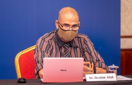 HPA's Epidemiologist Dr Ibrahim Afzal speaks at a press conference held by the Health Emergency Operations Centre (HEOC) regarding the COVID-19 situation in Maldives. FILE PHOTO/HEOC