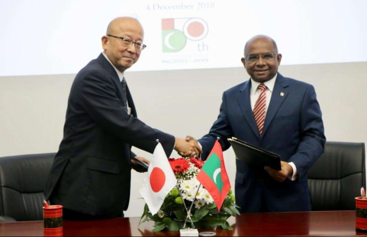 Minister of Foreign Affairs Abdulla Shahid and the then-Ambassador of Japan to Maldives Kazumi Endo posing for a photograph after signing the agreement to provide marine pollution response equipment for Maldives. The equipment was handed over to the Maldivian government on August 17, 2020. PHOTO: FOREIGN MINISTRY
