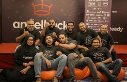 Team Sparkhub, along with community leaders, captured having a celebratory moment at the 2018 Angelhack event. PHOTO: SPARKHUB