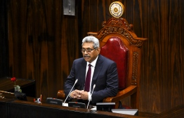 Sri Lanka's President Gotabaya Rajapaksa speaks at the national Parliament session in Colombo on August 20, 2020. (Photo by ISHARA S. KODIKARA / AFP)