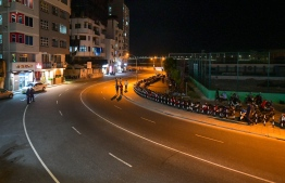 The ring road in capital Male' is seen empty of vehicles after authorities implemented a curfew on vehicular movement from 2000 to 0500 hrs, as another measure to curb the spread of COVID-19. PHOTO: AHMED AWSHAN ILYAS / MIHAARU