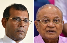 Former presidents Maumoon Abdul Gayoom (R) and Mohamed Nasheed: they exchanged heated tweets on August 24, 2020 regarding their stances on presidential and parliamentary systems. IMAGE/MIHAARU