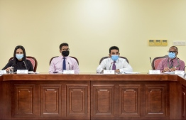 Health Ministry officials sit down with the parliamentary Public Accounts Committee to discuss the ministry's compliance audit report, which accused the ministry of corruption in procuring ventilators for Maldives' COVID-19 response. PHOTO: NISHAN ALI / MIHAARU