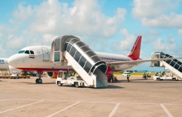 An Air India flight in Velana International Airport: the direct flight was arranged after Tamils in Maldives conducted a Facebook survey to show demand -- Photo: MACL