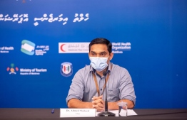 Technical Advisory Group (TAG)'s representative and Indira Gandhi Memorial Hospital (IGMH)'s doctor Ahmed Shaheed speaking at a press briefing held by the Health Emergency Operations Centre (HEOC). PHOTO: HEOC