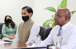 Minister of Foreign Affairs Abdulla Shahid (R) and Indian High Commissioner Sunjay Sudhir participate in the virtual groundbreaking ceremony held to inaugurate the Hulhumale' Central Park development and Eastside Arrival Jetty renovation projects on August 27, 2020. PHOTO/FOREIGN MINISTRY