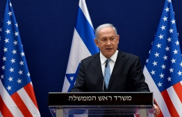 Israeli Prime Minister Benjamin Netanyahu makes joint statements to the press with US Presidential Adviser Jared Kushner (unseen) after their meeting in Jerusalem, on August 30, 2020, about the Israel - United Arab Emirates agreement to normalise relations. (Photo by DEBBIE HILL / various sources / AFP)