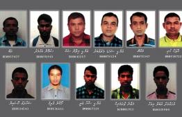 The 11 Bangladeshi undocumented workers that escaped from quarantine facilities: (Top Right to Left: Ropak Kuri,, Bachchu, M.D. Shahada Mathubbaru, M.D. Milon Sheikh, Sumon Ahmed & Rab; Bottom Right to Left: Mohamed Rubel Miah, Maznu Pramanik, M.D. Shaha Ali, Hokon Malik, Shahaadath Hossein. PHOTO/POLICE