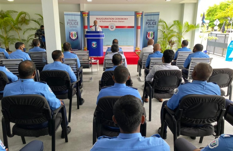 Participants listen to an address during a ceremony held by MPS on Inception Day. PHOTO: MALDIVES POLICE SERVICE