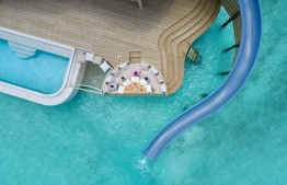 Overhead shot of the 19-metre water slide installed in the Water Retreats. PHOTO: SONEVA FUSHI