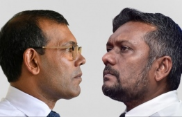 Parliament Speaker Mohamed Nasheed (L) and Economic Minister Fayyaz Ismail: the rift between the two MDP members heightened as Nasheed called on Fayyaz to step down. PHOTO/MIHAARU