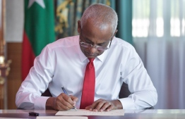 President Ibrahim Mohamed Solih ratifies the the third amendment to the 'Prosecutor General's Act'. PHOTO: PRESIDENT'S OFFICE