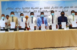 Councils of Gaafu Alif Atoll and Fuvahmulah signed an agreement on sharing the region's resources amongst the islands of both atolls during the 'Sister Island Conference'. PHOTO: GAAFU ALIF ATOLL COUNCIL