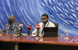 Maldives Industrial Fisheries Company (MIFCO)'s CEO Ismail Fauzee during Sunday's press conference. PHOTO: MIHAARU