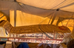 A handout picture released by the Egyptian Ministry of Antiquities on September 20, 2020, shows one of fourteen 2500 year-old coffins discovered in a burial shaft at the desert necropolis of Saqqara south of the capital. - Egypt's antiquities ministry announced the discovery of 14 new coffins in the Saqqara area buried deep in a well for around 2500 years. (Photo by - / Egyptian Ministry of Antiquities / AFP) /