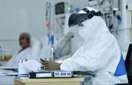 Frontline workers at Hulhumale' Medical Facility donned in Personal Protective Equipment (PPE). PHOTO: MIHAARU