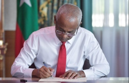 President Ibrahim Mohamed Solih ratifies amendments to Acts. PHOTO: PRESIDENT'S OFFICE