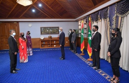 President Ibrahim Mohamed Solih appoints Dr Hussain Niyaz and Farzana Zahir as the Maldivian High Commissioners to India and Pakistan respectively, and Aminath Shabeena as the Maldivian Ambassador to the United Arab Emirates (UAE) on September 23, 2020. PHOTO/PRESIDENT'S OFFICE