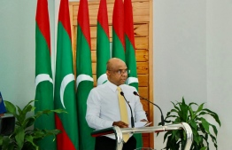 Minister of Foreign Affairs Abdulla Shahid speaking at the ceremony held to mark the commencement of the India-Maldives ferry. PHOTO: MINISTRY OF FOREIGN AFFAIRS
