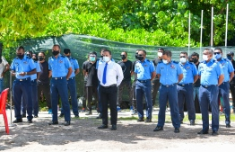 Home Minister Imran Abdulla with Police officials as they demolish drugs the police have accumulated: The members for the appeal committee were appointed by Imran -- Photo: Ahmed Awshan Ilyas/ Mihaaru