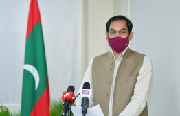 (FILE) Ambassador Sunjay Sudhir speaking at event when a USD 400 million loan was signed between India and Maldives, on October 12, 2020 -- Photo: Nishan Ali/ Mihaaru